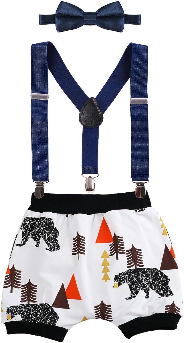 Newborn Infants Baby Boys Kids Toddlers 1st Birthday Cake Smash Print Harem Pants Shorts Bow Tie Photo Props Formal Gentleman Outfit Suit 3pcs Set Adjustable Y Braces//Suspender