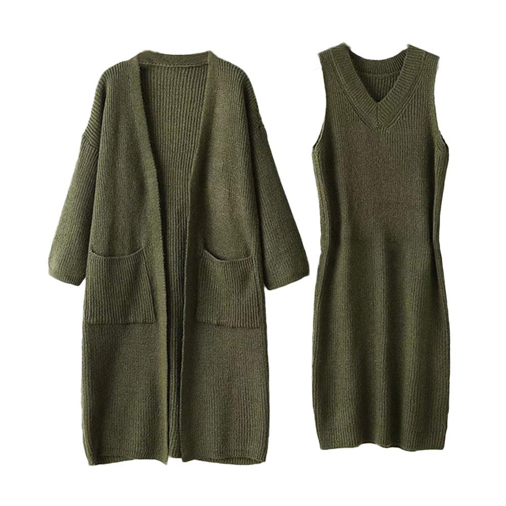 Womens Dresses Liraly Fashion Winter Long Sleeve Knit Solid Sweater Dress+Coat 2-Piece Set(Green)