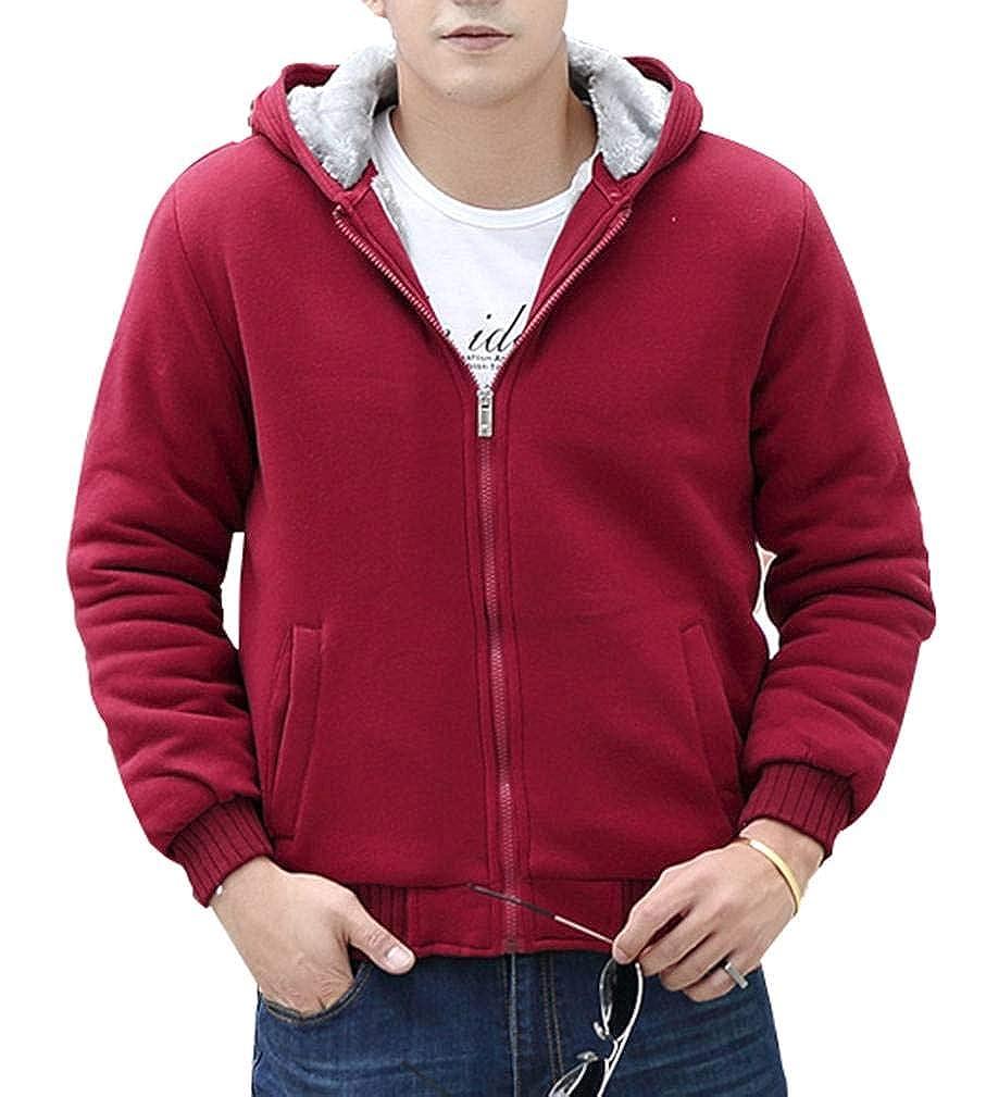 Yasong Men Teenager Zip up Thick Padded Lined Fleece Hoodies Sweatshirt Jacket Overcoat