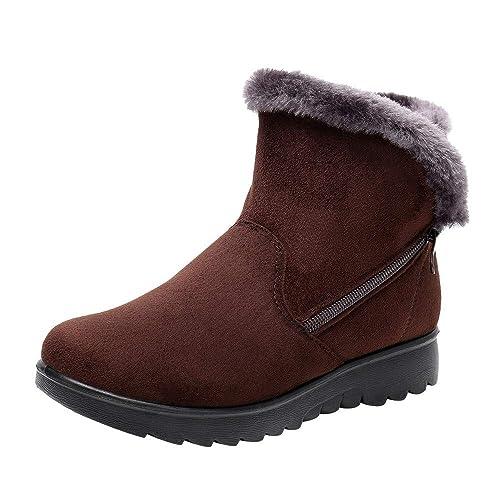 Bottes de Neige,Subfamily Femme Hiver Ankle Boots Bottines Plates Fourrées  Bottines Chelsea à Talon 14dd1064dd66