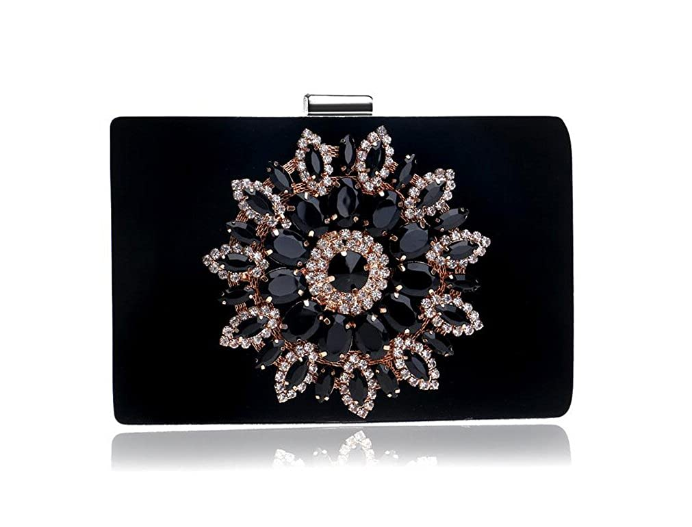 GINSIO Women s Polyester Fiber Rhinestone New Fashion Wristlet-handbags  Evening-handbags Black  Handbags  Amazon.com f44ee673c5c9