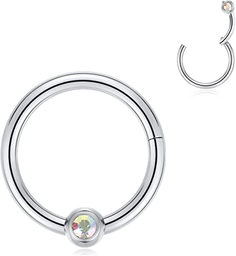 316l stainless steel nose septum clicker ear //nose//lip hinged segment ring 16g