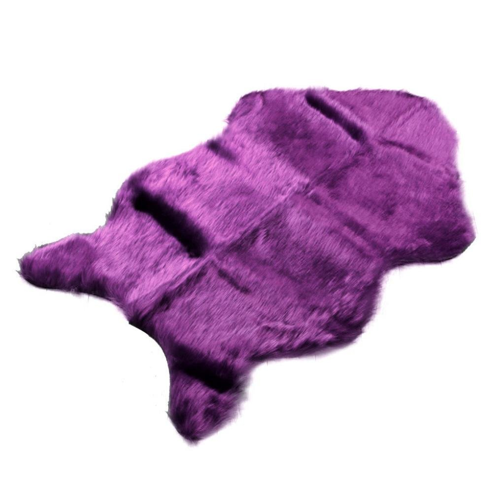 Sothread Luxury Soft Faux Sheepskin Chair Cover Seat Pad Plush Fur Area Rugs for Bedroom (Purple).