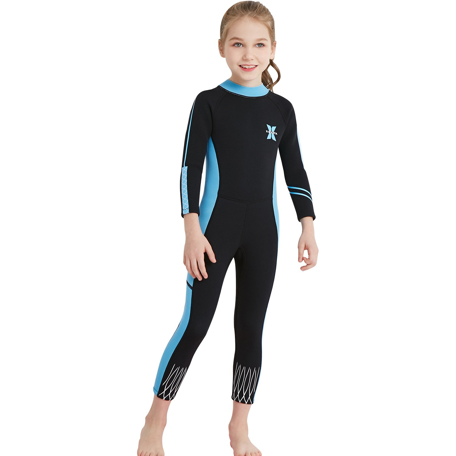 Fanceey Kids 2.5mm Neoprene Wetsuit Girls Swimming Costume Thermal Insulation Long Sleeve Suit Surfing Snorkling Diving Skins