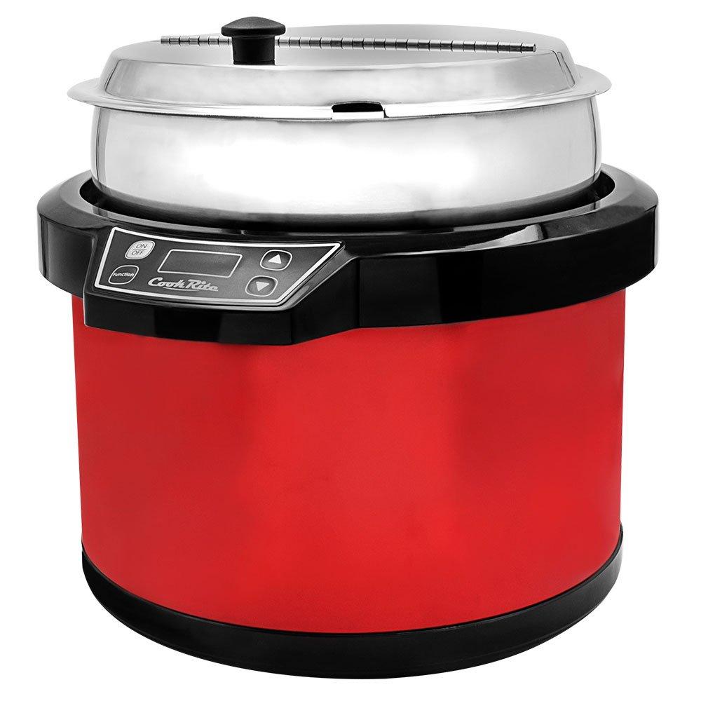Chef's Supreme - 11 qt. 120v Red Soup Kettle w/ Digital Display