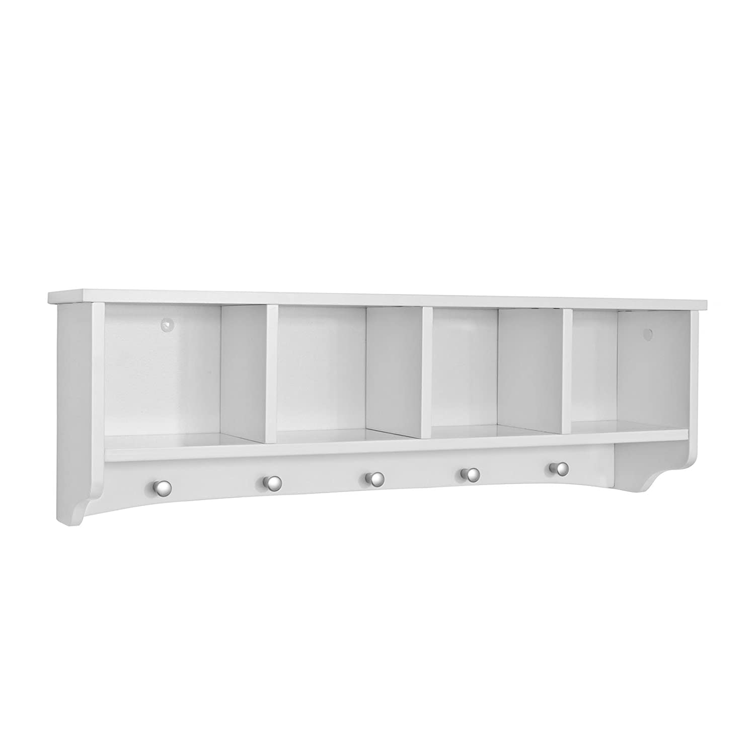 SoBuy® FRG48 L W, White Wall Display Storage Unit With 4 Components 5 Hooks