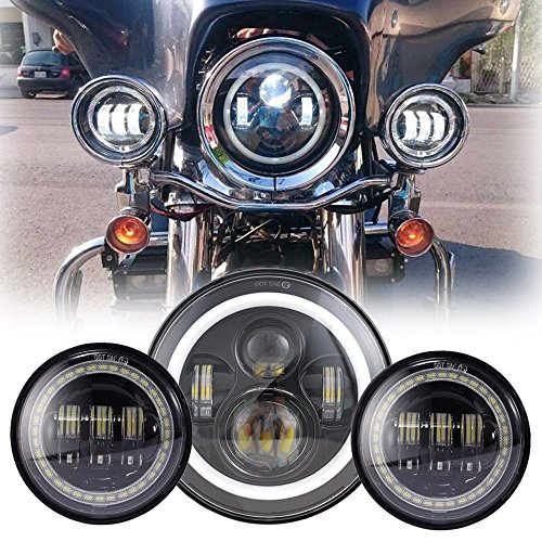 Black 7 Quot Inch Harley Daymaker Led Headlight With Drl 2x 4