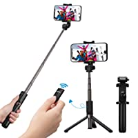 Mpow Selfie Stick Tripod, 2 in 1 Selfie Stick Tripod Monopod with Wireless Bluetooth Remote for Phone XS/XS Max/XR/X/8 Plus/8/7 Plus/7/Samsung Galaxy up to 3.5-6 inch Phones