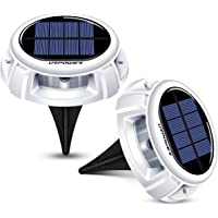 URPOWER Solar Lights, Upgraded IP67 Waterproof Solar Ground Lights Outdoor Solar Garden Lights Disk Lights with 4 Lighting Modes Solar Pathway Lights for Patio Yard Lawn Driveway (Cool White-2Pack)