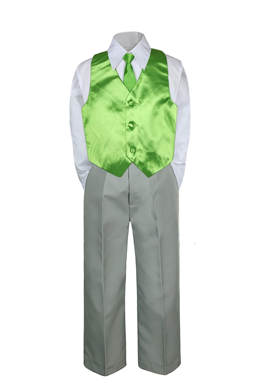 4pc Formal Baby Teen Boy Lime Green Vest Necktie Silver Pants Suit S-7 4T