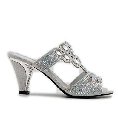 c5bbe41e5 Women s Slip On Rhinestone Glitter Open Toe Chunky High Heel with Soft  Insole Heeled Sandal (