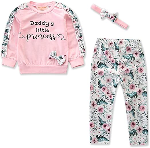 3PCS Toddler Kids Baby Girls Princess Floral Tops+Flared Pants Long Trousers Set