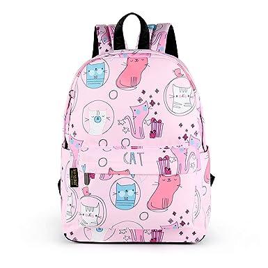 d92bc14e43 Kids Backpack Waterproof Pink Cartoon Cat School Backpack Book bag for  Girls(Cat-Pink