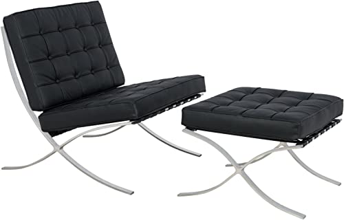 LeisureMod Melba Modern Lounge Tufted Buttoned Chair and Ottoman, Single, Black Leather