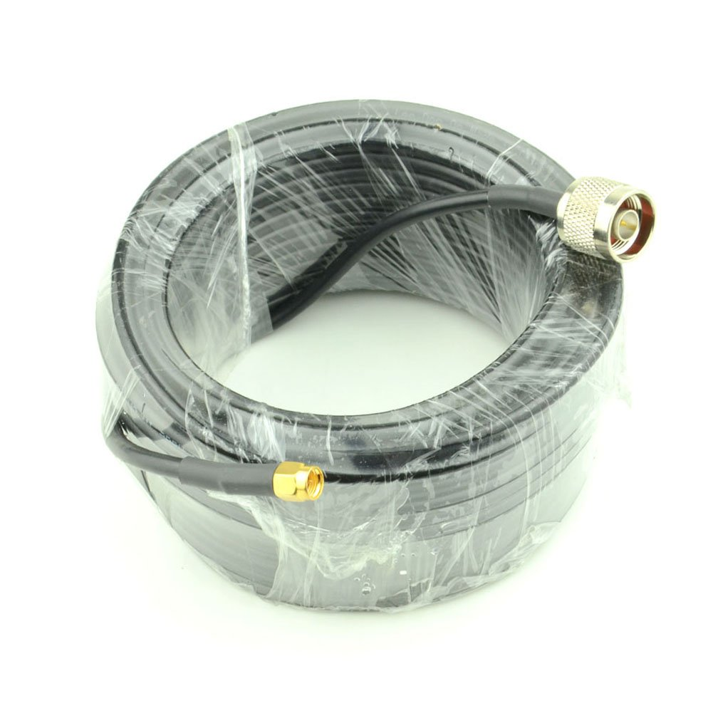 15-Meter(49.2 Ft) Low Loss RG58 N Male to SMA Male Antenna Coaxial Cable Connector and Two-Way Radio Applications