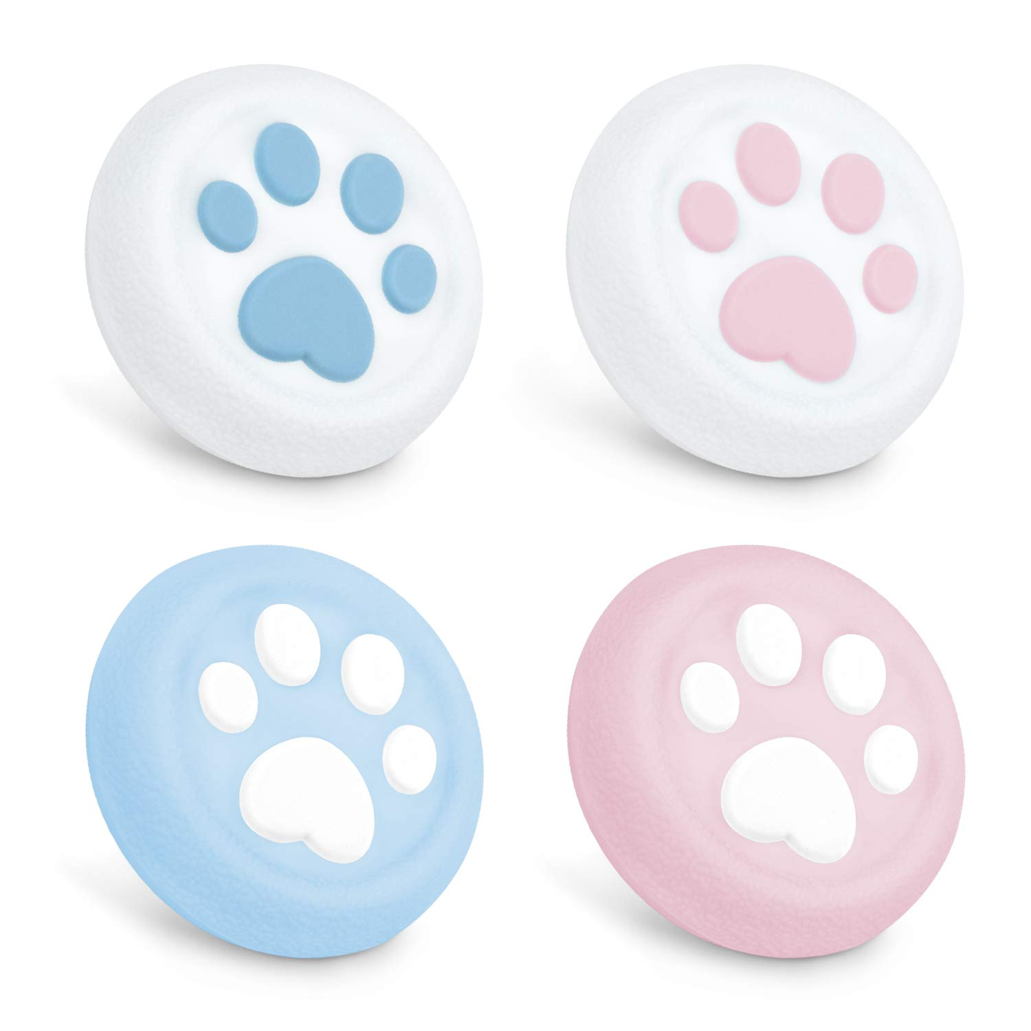 GeekShare Cat Claw Playstation 4 Controller Thumb Grips, Thumbsticks Cover Set Compatible with Switch Pro Controller and PS4 Controller, 2 Pair / 4 Pcs - Pink and Blue