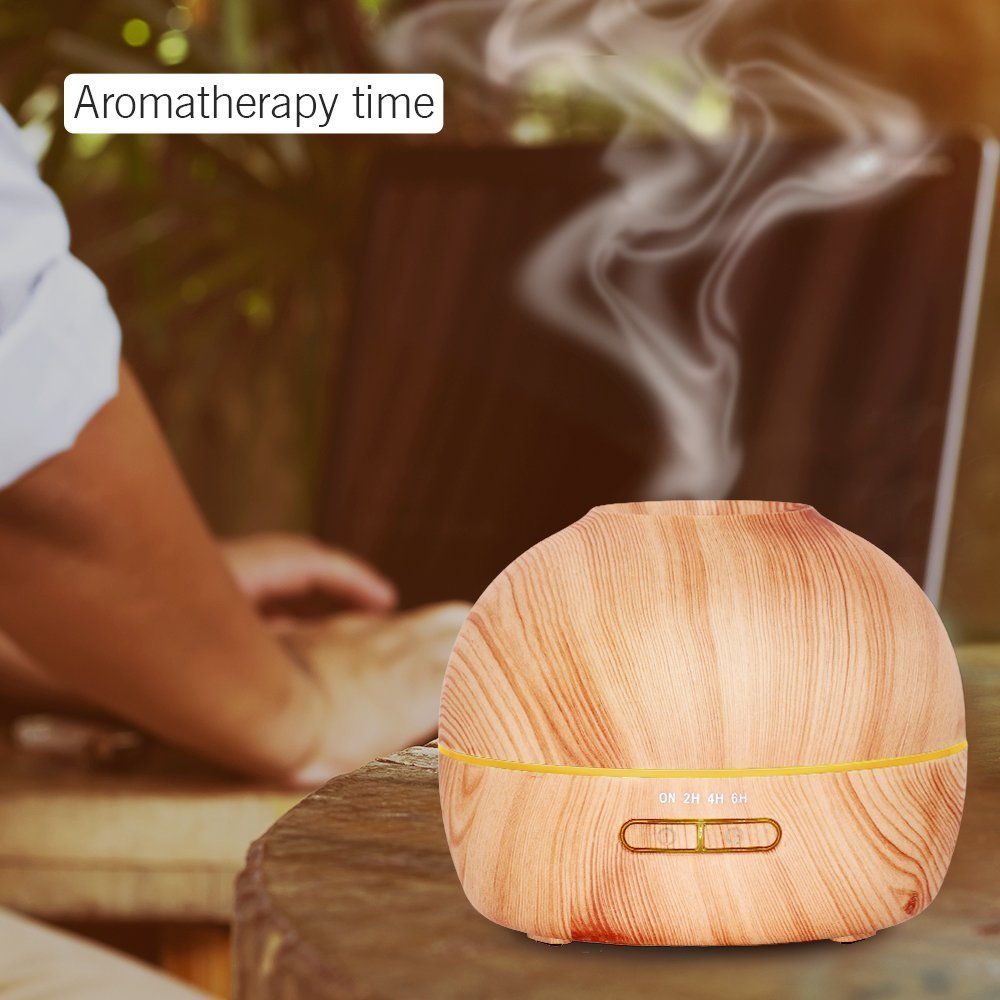 Hysure Wooden Cool Mist Humidifier Small Personal Humidifiers Ultrasonic Aromatherapy Oil Diffuser for Baby with 7 Colorful LED Lights Changing for Home, Bedroom, Office - Light Wood