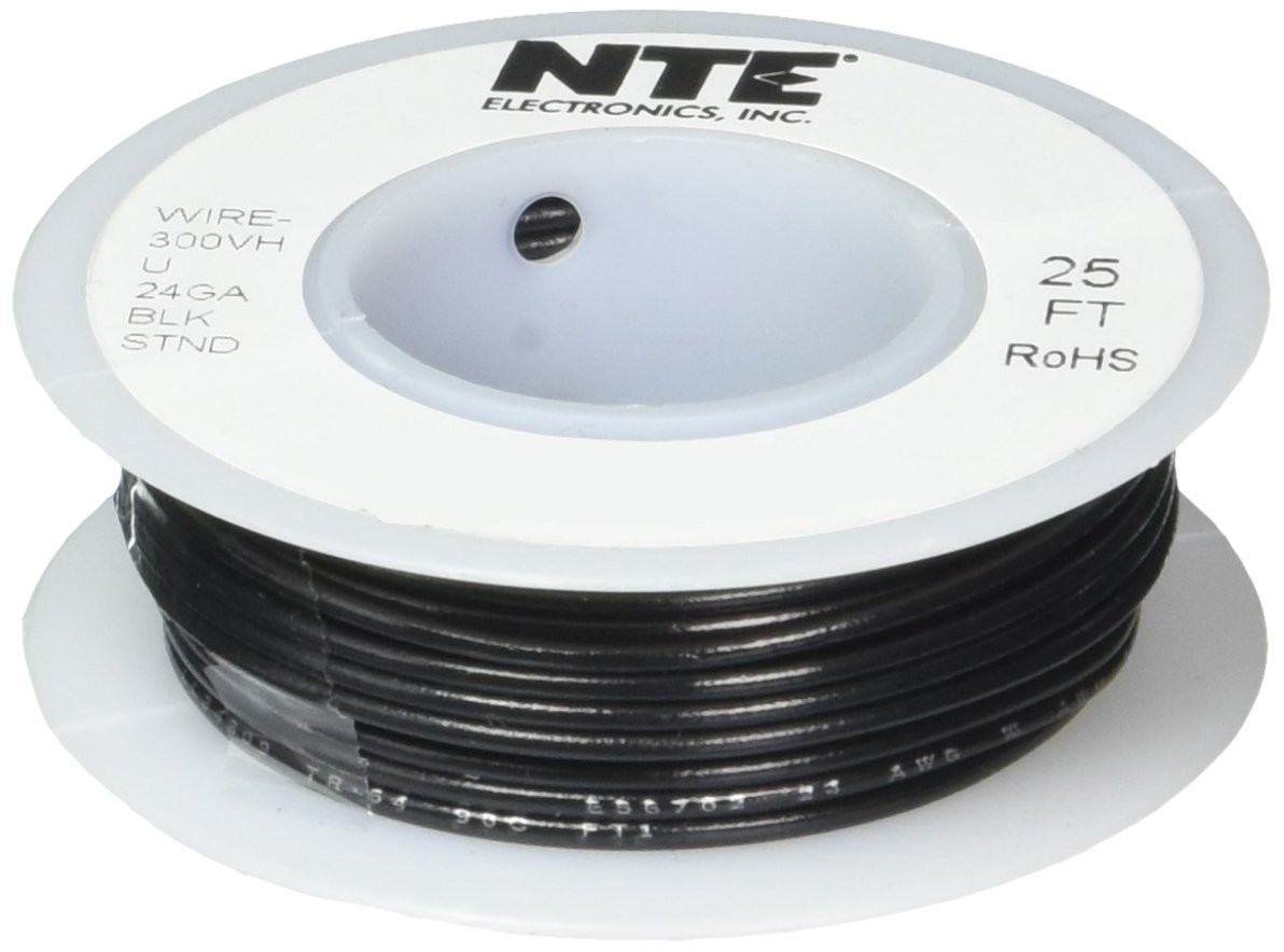NTE Electronics WH24-00-25 Hook Up Wire, Stranded, Type 24 Gauge, 25 ...