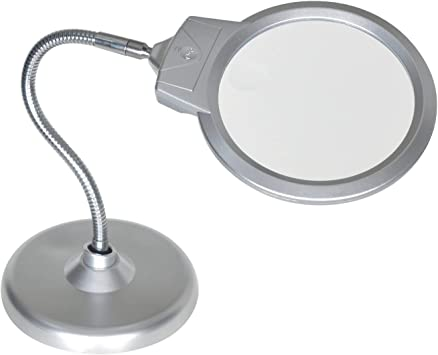 2X 5X LED Light Magnifier with Stand Hands Free Magnifying Glass for Reading