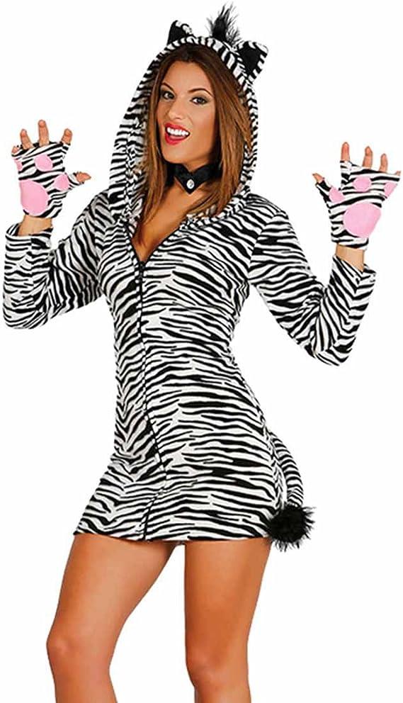 Amakando Vestido Cebra con Capucha - M (ES 40/42) | Disfraz Cebra ...