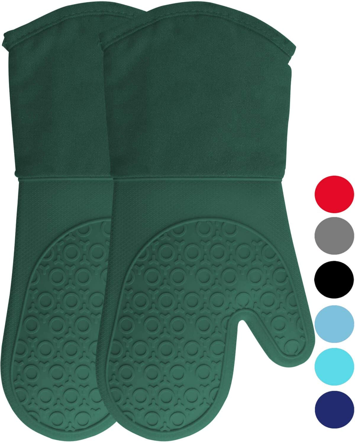 HOMWE Extra Long Professional Silicone Oven Mitt, Oven Mitts with Quilted Liner, Heat Resistant Pot Holders, Flexible Oven Gloves, Green, 1 Pair, 13.7 Inch