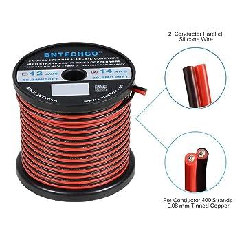 bntechgo 16 Gauge Flexible 2 Leiter Parallel Silikon Draht Spule rot ...