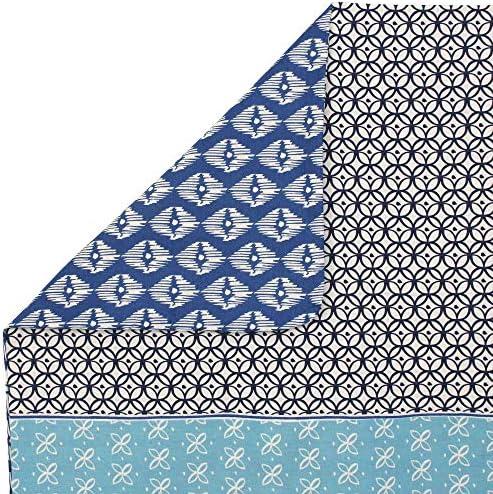 Linnea Housse de Couette 300x240 cm 100% Coton Rio Jade Bleu