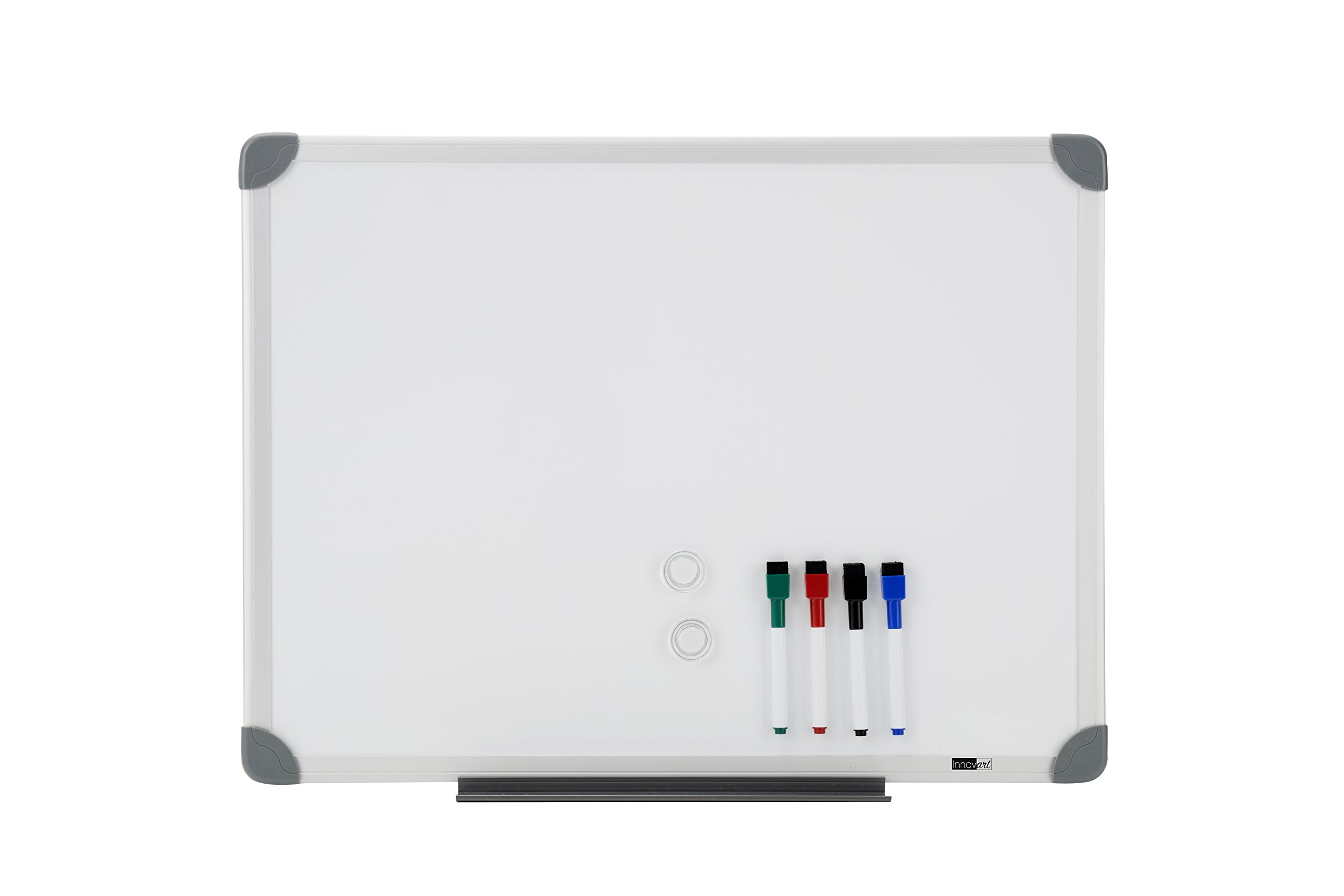 Innovart Magnetic Dry Erase Board 4 pcs Colored Dry Erase Markers and 2 pcs Magnetic,48 x 36 inches,Whiteboard/Whiteboard, Aluminium Frame UNI006