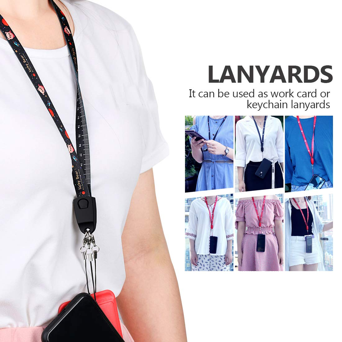 Cell Phone Lanyard Strap Micro USB Charging Cable, Houbox 33 5 inch Ruler  Lanyards Neck Charger Cord for Phone / Keys / Keychain / Work Card