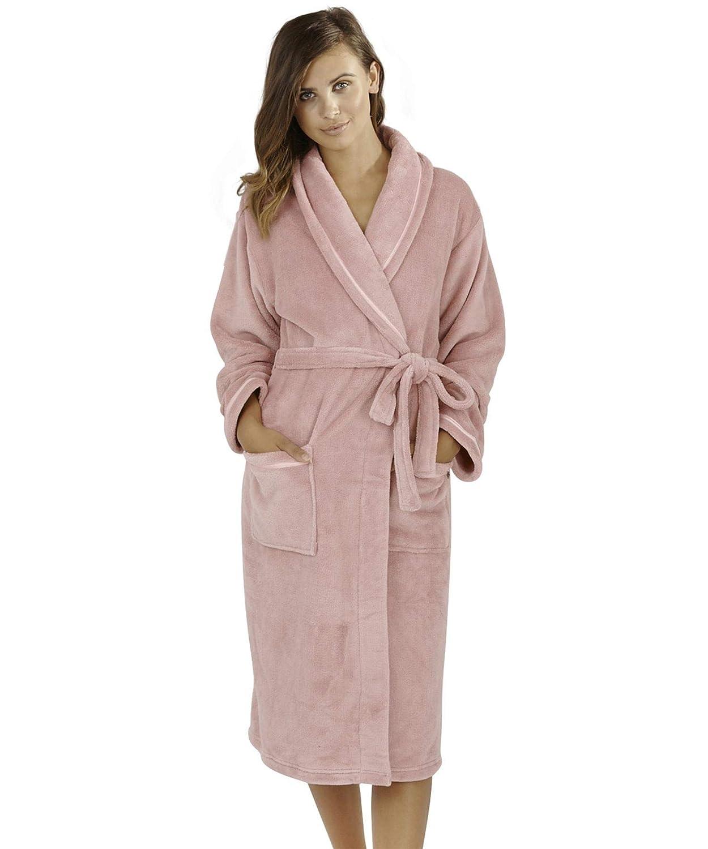 Undercover Lingerie Ltd Vestidos de Lana coralinos de Lujo Suaves de Las Mujeres con el Cuello clásico del mantón