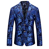 WULFUL Men's Luxury Casual Dress Floral Suit Notched Lapel Slim Fit Stylish...