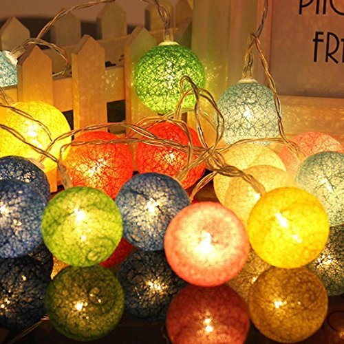Miklan Set of 10 Rattan Ball Colorful LED Cotton Ball String Lights for Curtain, Patio, Gardens, Bedroom, Dorm Room, Wedding, Indoor Outdoor Decorative Halloween Christmas Party 1.3 M (Ball Lights String 10 Rattan Set)