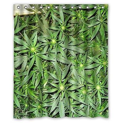 "Custom Green Marijuana Leaf Ganja Weed Design pattern polyester Shower Curtain ,60"" x 72"" Inches Shower Curtain"