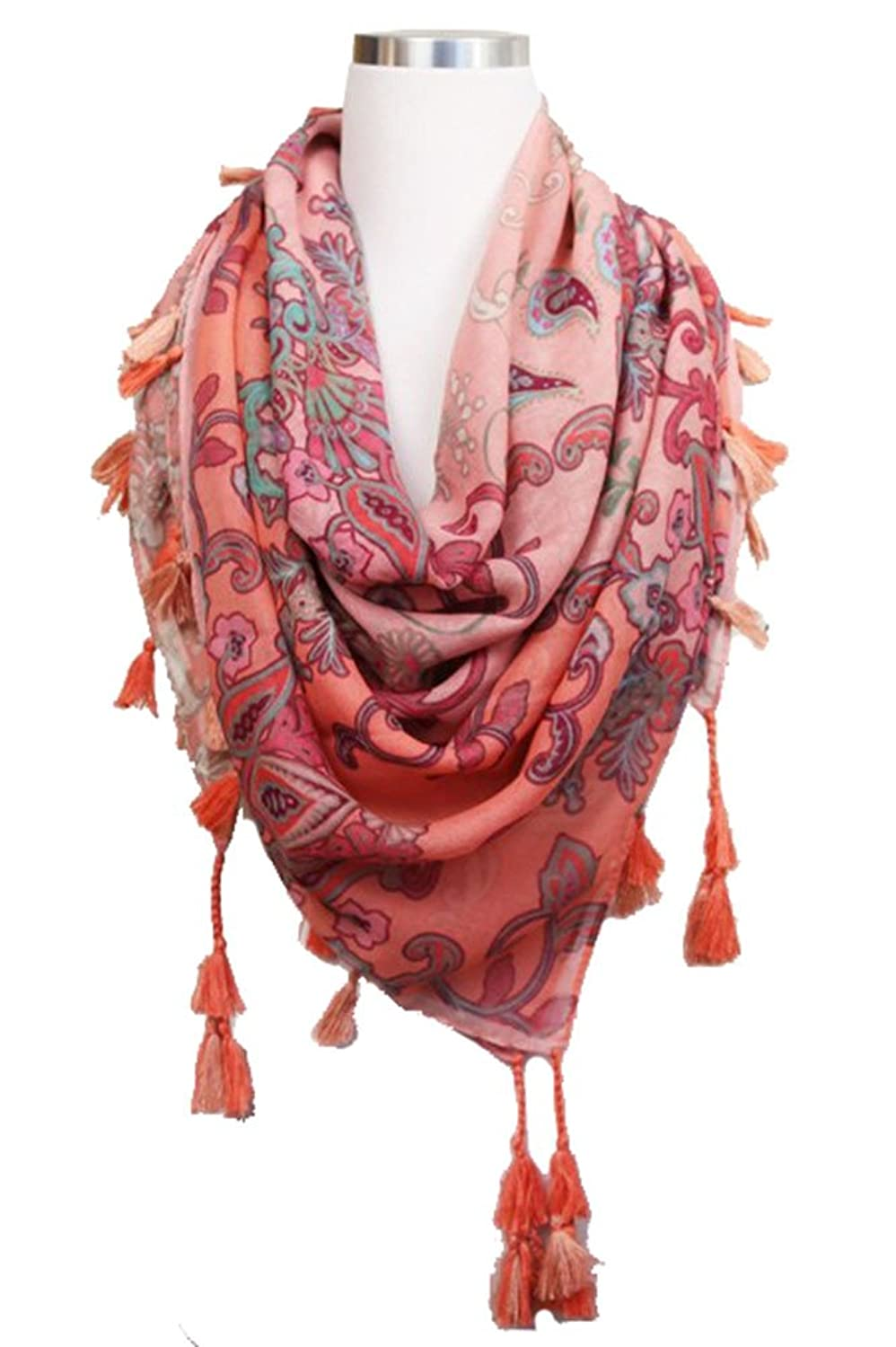 ScarvesMe Fashion ETHNIC SQUARE SCARF WITH TASSELS