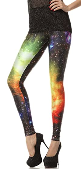 fb3b1342fd929 Pink Queen Funky Spandex Neon Galaxy Space Patterned Leggings Tights ...