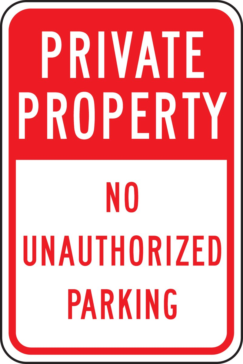 Accuform FRP296RA Engineer-Grade Reflective Aluminum Parking Sign, Legend''PRIVATE PROPERTY NO UNAUTHORIZED PARKING'', 18'' Length x 12'' Width x 0.080'' Thickness, Red on White