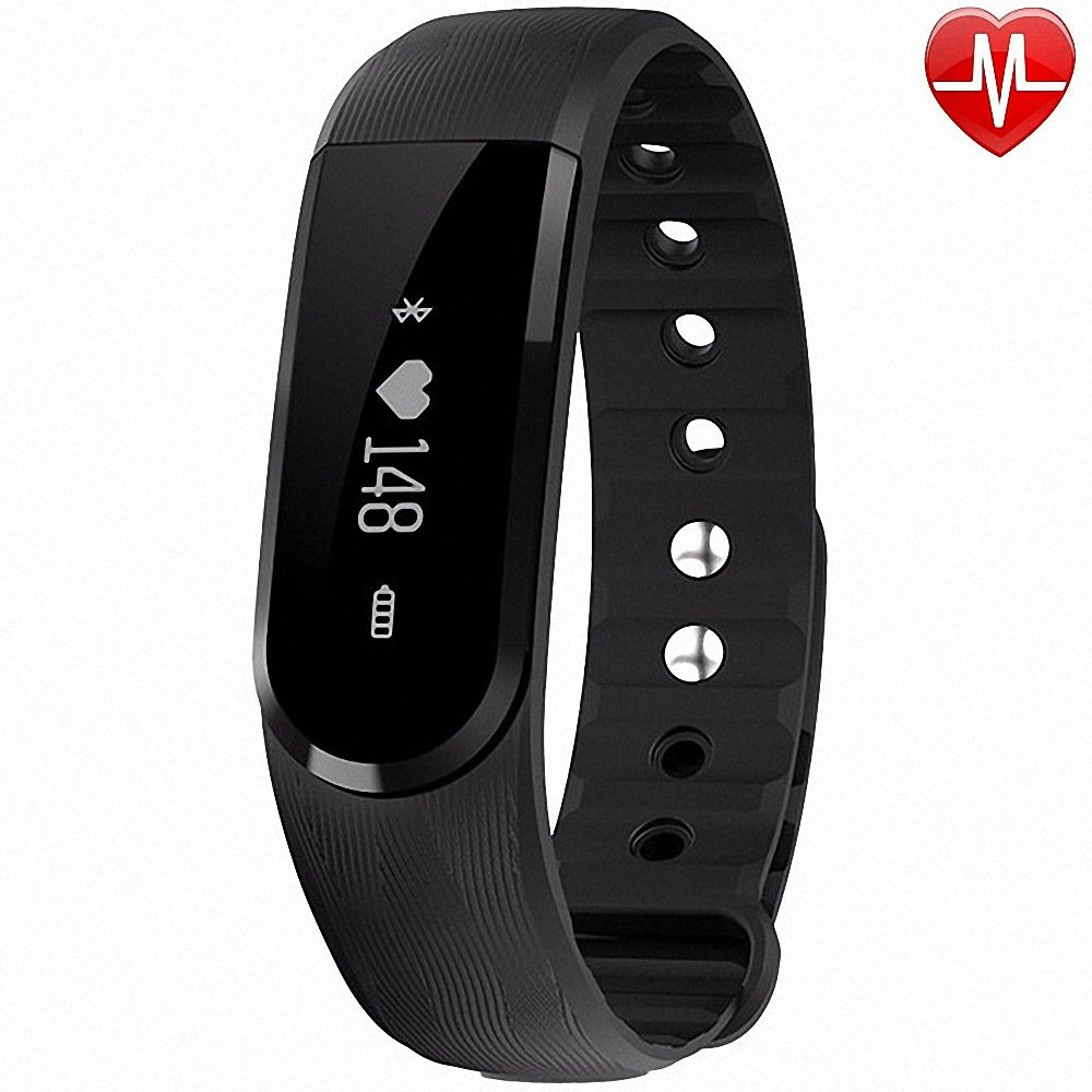 LQM Fitness Tracker Health Smart Bracelet,IP67 Waterproof Heart Rate Monitor Bluetooth Touch Screen Sport Wristband with Activity Tracker Pedometer for IOS Android Cellphone (Black)
