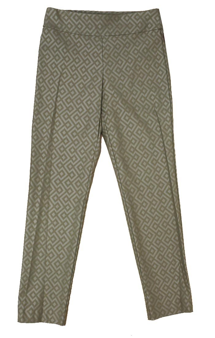 Krazy Larry Women's Geometric Print Pull On Ankle Pants (8, Taupe/Taupe Geometric)