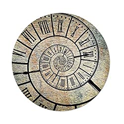 iPrint Polyester Round Tablecloth,Clock Decor,A Roman Digit Time Spiral on the Vintage Textured Background Antique Design Print,Sepia,Dining Room Kitchen Picnic Table Cloth Cover,for Outdoor Indoor