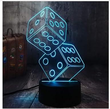 Iluminación Luz Lectura Lampara De Mesa Luz De Lectura Juego De Cartas De Póquer Juego Fiesta 3D Luz Nocturna Mesa De Escritorio Led Lámpara De Sueño Sala De Estar Decoración Juguete: Amazon.es: