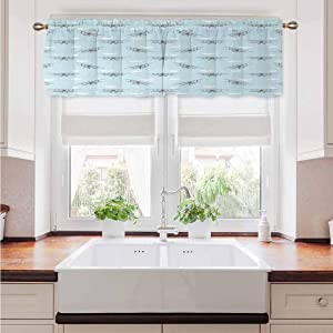 Valance Curtains Airplane Sun Blocking Print Curtains Old Aircraft Biplanes in Blue Sky Speedy Propellers Wings Retro Design for Kitchen Bathroom or Any Small Window Rod Pocket Panel 42