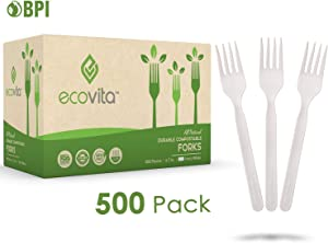 100% Compostable Forks - 500 Large Disposable Utensils (7 in.) Bulk Size Eco Friendly Durable and Heat Resistant Alternative to Plastic Forks with Convenient Tray by Ecovita