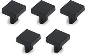 "MTMTOOL Flat Black Square Cabinet Knobs 1"" x 1"" Furniture Door Cabinet Hardware Wardrobe Drawer Pull Handles Pack of 5"