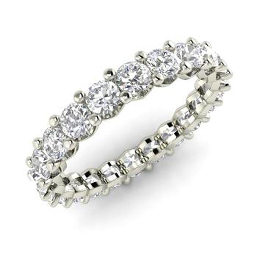 Silvestargemsjewellery 2.0Ct D/VVS1 Diamond Full Eternity Wedding Band Ring in 14k White Gold Over SSR7068