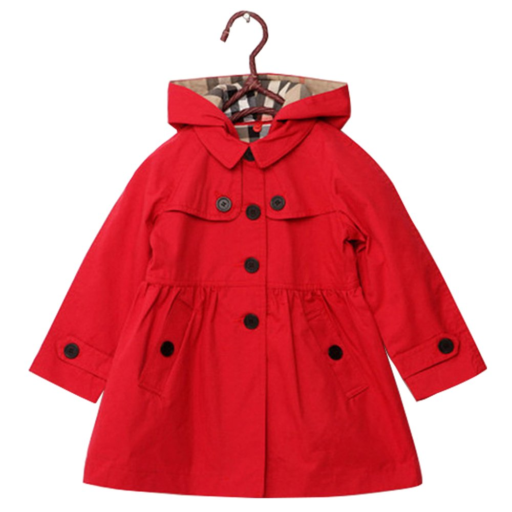 Big Girls Trench Coat Jacket With Hood Outwear (10, Red)