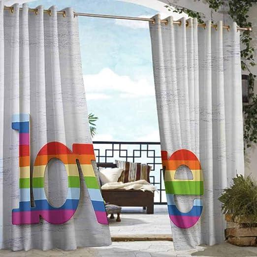DILITECK - Cortina de pérgola Decorativa, diseño de arcoíris con Texto en inglés Love Valentines Sign en Fondo de Madera LGBT Homosexualidad para Patio/Porche Frontal: Amazon.es: Jardín
