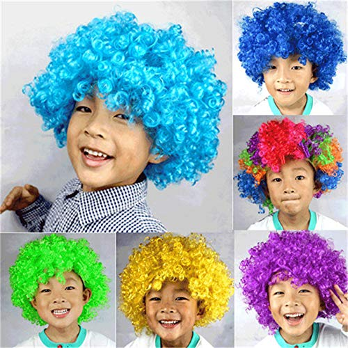 Christmas Party Curly Hair Wig Discor Rainbow Afro Clown Wig Football Fan Costume Party Costume Halloween Propscpw75 violet one size]()