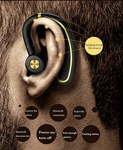 e6588e92edc Bluetooth Headset,Wireless Bluetooth 4.1 Business Headphone Earphone 300mAh  Super Long Standby Earpiece with Mic,Sweatproof,Noise Reduction,Mute Switch  for ...