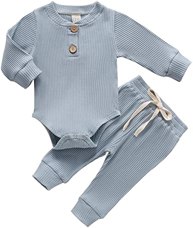 Infant Knitted Outfits Baby Girl Long Sleeve Ribbed Shirts Top Solid Color Shorts Pants 2PCS Fall Clothes Sets