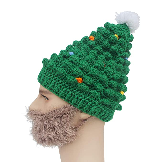 Kafeimali Men Mask Christmas Tree Knitted Crochet Beanie Santa Hat Beard  Caps (Brown) 5adaf28ad86